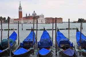 Some gondolas in Venice, Italy