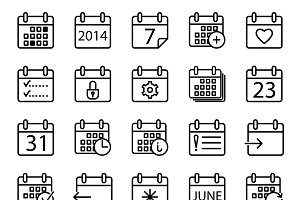 Calendar stroke icons set.