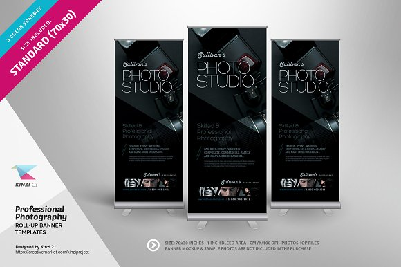 photography roll up banners flyer templates creative market