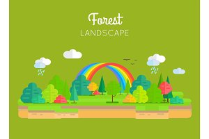 Forest Landscape Vector Concept In Flat Design.