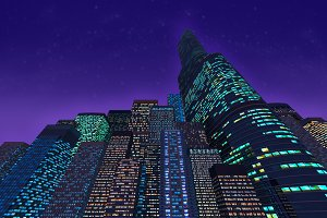 Background of colored skyscrapers at night