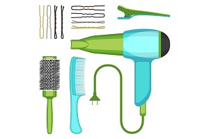 Set of hairdressing tools vector illustration isolated on white background.