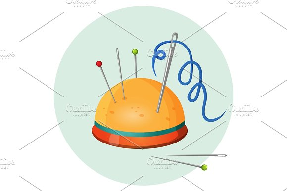 Pincushion With Needles And Pins Or Thimbles Vector Illustration Isolated