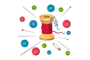 Reel with threads surrounded by pins and needles, buttons vector illustration