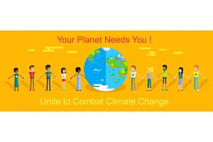 Saving Planet Earth Vector Concept in Flat Design.