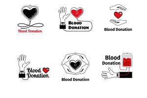 Blood donation logo or emblem set