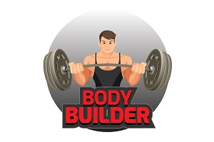 Bodybuilder poster with strong man holding heavy dumbbell vector illustration