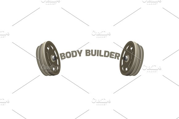 Bodybuilder logotype design with two dumbbells vector illustration isolated