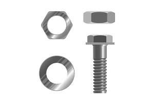 Bolt fastener and several types of nuts realistic vector illustration isolated