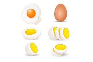 Boiled eggs whole and half, fresh and fried realistic vector