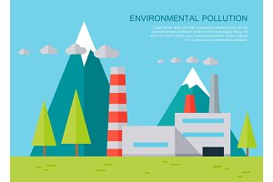 Environmental Pollution Concept Vector Banner.