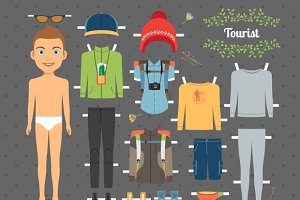 Tourist Boy Paper Doll