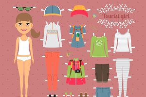 Tourist Girl Paper Doll