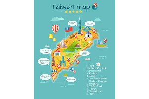 Taiwan Map with Sightseeing Taipei Chiang Kai-Shek