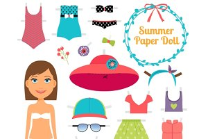 Summer paper doll. Girl with dress