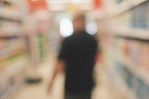 Shopping in supermarket (bokeh)