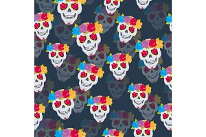 Human Skull and Flower Wreath Seamless Pattern.