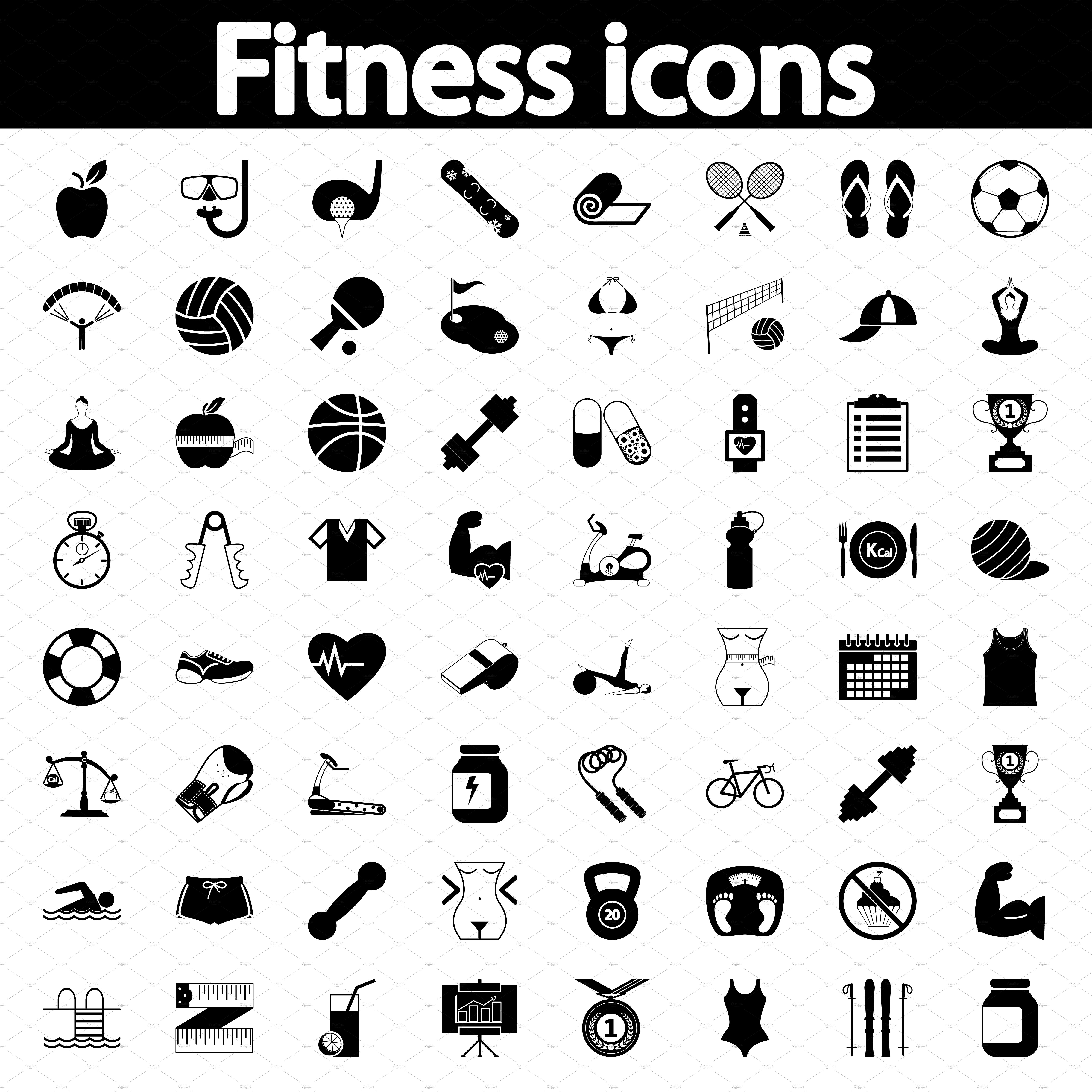 Fitness icons set ~ Icons ~ Creative Market
