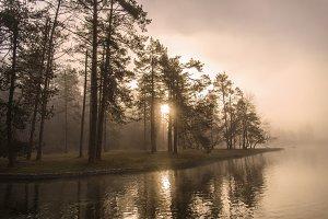 Sunrise over River in Mist / Fog