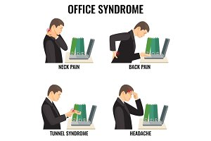 Office syndrome illnesses vector illustrations set on white.
