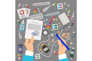 Pharmaceutics Banner Set. Medical Prescription.