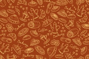 Pattern with bread bakery products