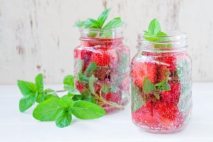 drink with strawberries and mint