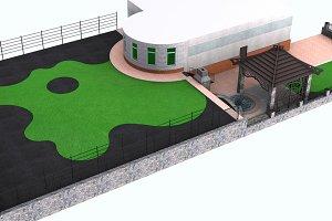 Landscaping perspective 3d render
