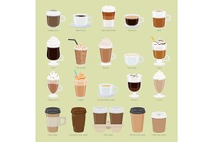 Set of Coffee Types and Packages. Coffee Menu