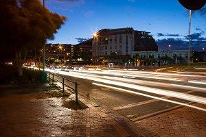 Long exposure of street in city