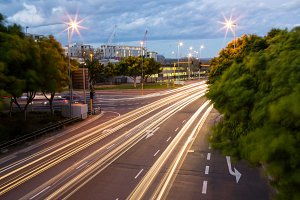 Long exposure of expressway in city