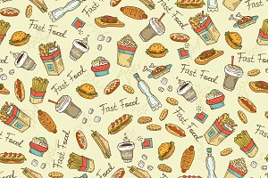 Pattern with hand drawn fast food