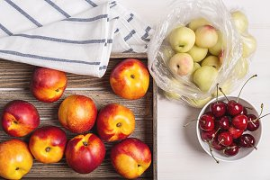Nectarines, plums and cherries.