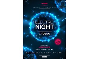 Electro night party poster template
