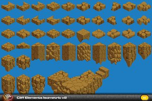 Cliff Elements Isometric Tiles v2