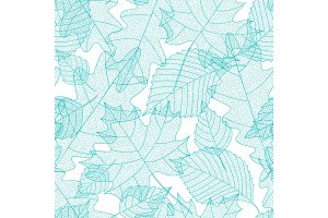 Seamless pattern with macro leaves skeletons