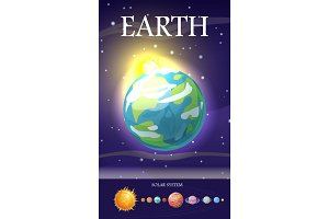 Earth Planet. Sun System. Universe. Vector