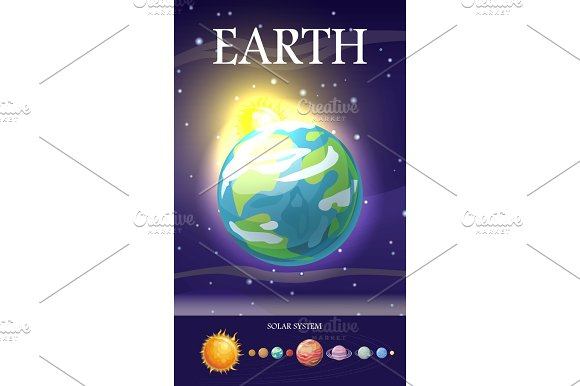 Earth Planet Sun System Universe Vector