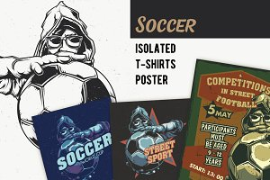Soccer T-shirts And Poster Labels