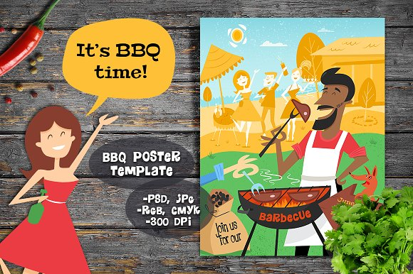 It's BBQ Time Mid-century Poster