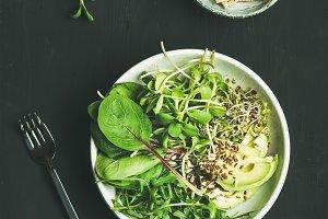 Green vegan breakfast meal