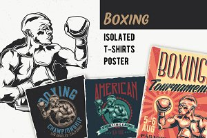 Boxing T-shirts And Poster Labels