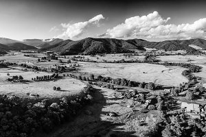 B&W view of Australian countryside