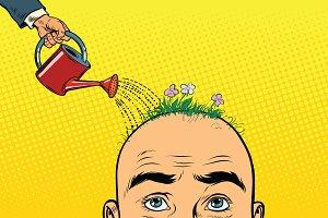 On the head of a bald man grow flowers