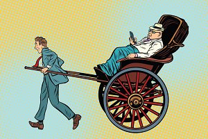 Businessman rickshaw carries a wealthy client