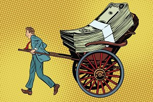 Businessman rickshaw transports money