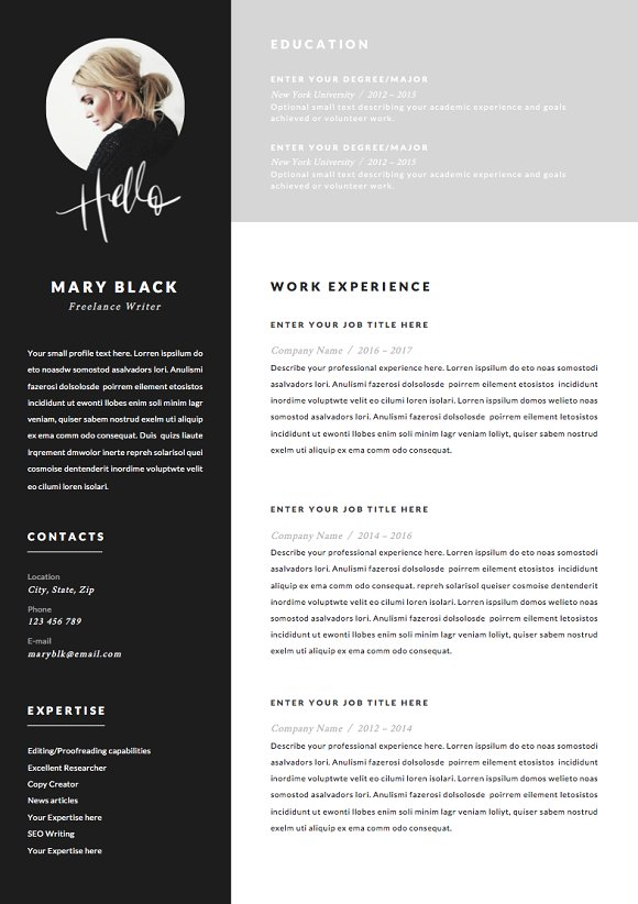 5 page Resume Template | Blackie ~ Resume Templates ~ Creative Market