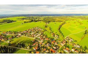 Aerial View Of Small German Town