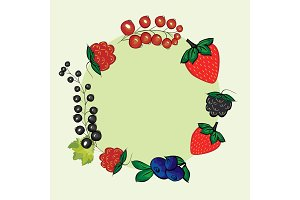 Vector set hand drawn berries label.