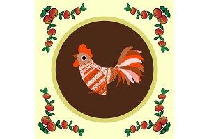 Cock bird ethnic pattern berries